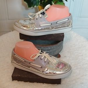 Sperry Topsider Grey & Silver Sequin Size 7M